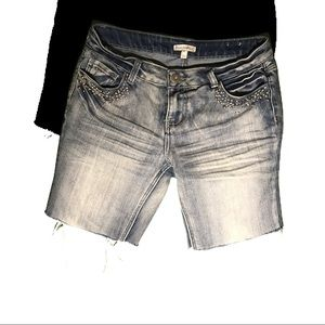 Denim bahama shorts with studs